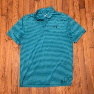 Green and blue stripped polo
